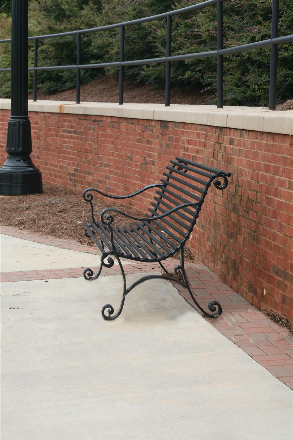 Bench on sidewalk