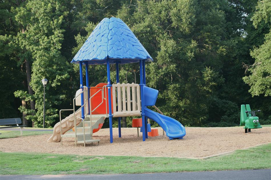 Playground equipment at Memorial Park